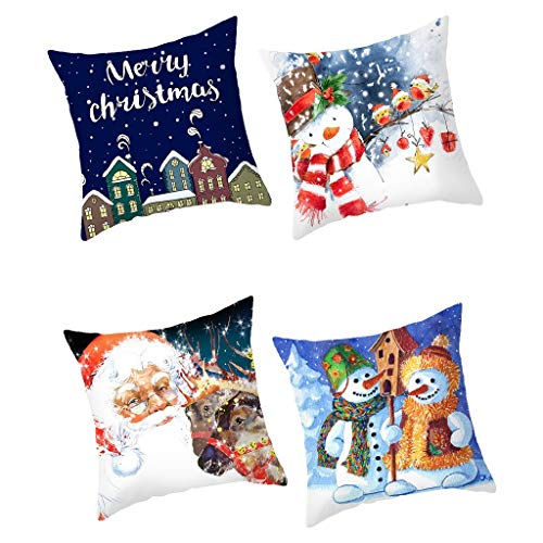Throw Pillow Covers 4 Pack Santa Claus Print,Merry Christmas Home Decorative Pillow Cases 18 x 18 Inch, Cotton Linen