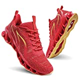 Men Athletic Shoes Red Mesh Blade Running Walking Sneakers, 8