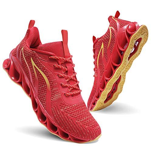 Men Athletic Shoes Red Mesh Blade Running Walking Sneakers, 10
