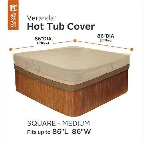 Classic Accessories 55-585-011501-00 Veranda Water-Resistant 86 Inch Square Hot Tub Cover,Pebble,Medium