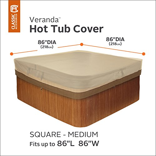 Classic Accessories 55-585-011501-00 Veranda Water-Resistant 86 Inch Square Hot Tub Cover,Pebble,Medium