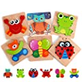 Slotic Wooden Puzzles for Toddlers - Animal Jigsaw Puzzles for 1 2 3 Years Old Boys & Girls, Kids Educational Toys (6 Pack) from Slotic