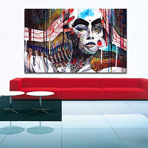Lange neus dikke wenkbrauwen modern woonkamer wandschilderij wandschilderij canvas kunst schilderij frameloos schilderwerk