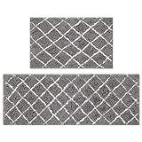 Pauwer Badewanne Teppich Set aus 2 Stück Chenille Mikrofaser Badmatten Runner Sets Anti-Rutsch Bad Bodenteppiche für Badezimmer Küche Schlafzimmer (Grau, 45x65+45x120cm)