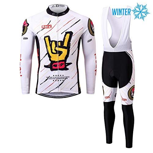Thriller Rider Sports® Herren Rock Music White Sport & Freizeit MTB Fahrradbekleidung Radtrikot Langarm Winter Thermisch Warm Jacke und Radhose Lang Anzug Large
