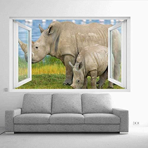 Rare White Rhino Wall Sticker 3D Art Mural Room Office Home Decoration/Vinyl Art Mural