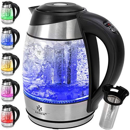 KESSER® Wasserkocher 1,8L Edelstahl mit LED Beleuchtung-Farbe je nach Temperaturwahl 60, 70, 80, 90, 100 °C | Glaswasserkocher ink. Teesieb-Einsatz und Kalk-Filter | Warmhaltefunktion
