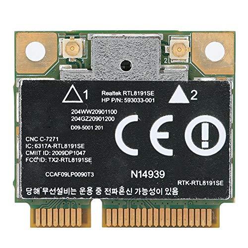 Nannday 300M-kompatible PCI-E-Netzwerkkarte, praktische drahtlose Netzwerkkarte, 593533-001 Wireless für RealTek RTL8191SE-Notebook