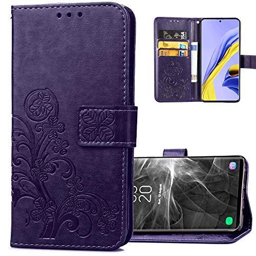 COTDINFORCA Etui für Huawei Honor 9A Hülle PU Leder Cover Schutzhülle Magnet Tasche Flip Handytasche im Bookstyle Kartenfächer Lederhülle für Huawei Honor 9A Clover Purple SD