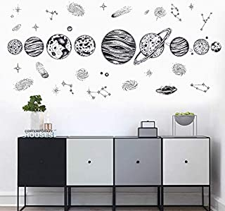 Black sketch space planet stars milky way wall sticker kids room living room office decoration diy removable self-adhesive...