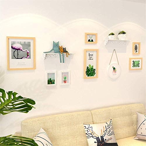 Mode Zhoumei Photo Wall Pastoral Simple Kleine Verse Decoratieve Klok Photo Wall Frame Planken Opknoping Picture Frame Multifunctionele fotolijst muur (Color : Picture Color, Size : Free size)