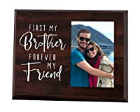 Elegant Signs First My Brother Forever My Friend - Wood Picture Frame Holds 4x6 Photo - Sibling Gift for Adults, Teens, or Kids [並行輸入品]