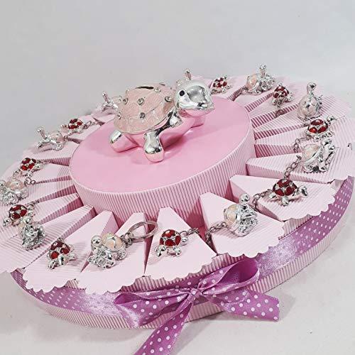 Torta BOMBONIERE Tartaruga e Coccinella Portachiavi Bianchi Bimba SPEDIZIONE Inclusa Nascita Battesimo 1° Compleanno * (Torta da 20 fette)
