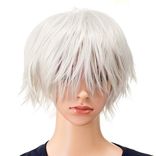SWACC Unisex Fashion Spiky Layered Short Anime Cosplay Wig for Men and Women (Silver)