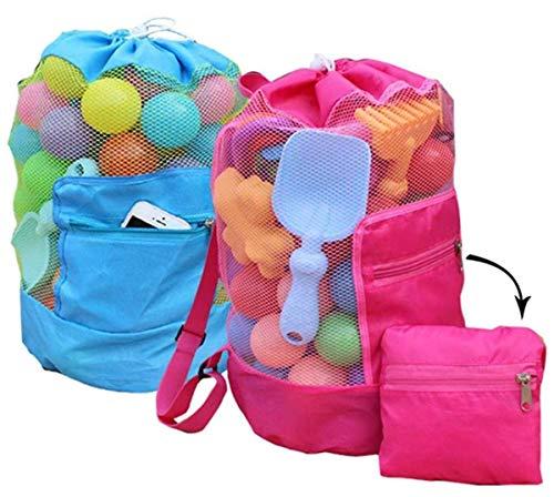 Paquete de 2, mochila de playa de malla vacía con bolsillo con cremallera.