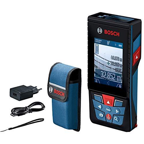 Bosch Professional GLM 120 C Distanziometro Laser, Fotocamera, Trasferimento dati Bluetooth, Misurazione 0.08-120 m, Cinturino di Trasporto, Cavo Micro-USB, Caricabatteria, Custodia Protettiva