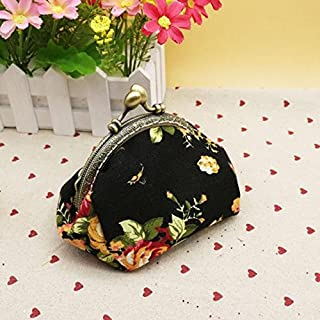 JUSTWIN Women Retro Embroidered Fabric Coin Purse Lady Vintage Small Wallet Flower Hasp Purse Clutch Bag