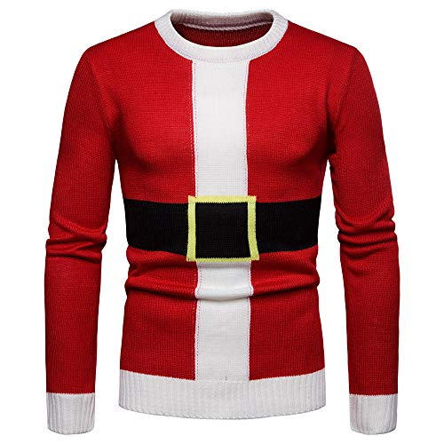 Affordable Mens Ugly Christmas Sweater, Santa Claus Costume Crewneck Knitted Pullover Blouse (XL, Re...