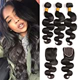 Brazilian Human Hair Body Wave 3 Bundles With Closure 22 24 26+20 Inch Pre Plucked Closure Baby Hair 4x4 Swiss Lace Base Remy Human Hair Weave Long Bundles Deals Natural Black Color