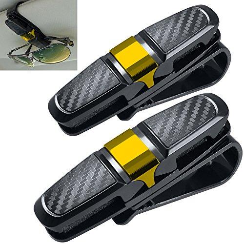 2 Pack Gafas Portátiles para Visor de Coche Sun, FineGood Gafas de sol Gafas de Montaje con Clip de Tarjeta de Boleto - Oro