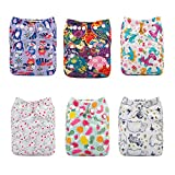 ALVABABY Cloth Diapers One Size Adjustable Washable Reusable for Baby...