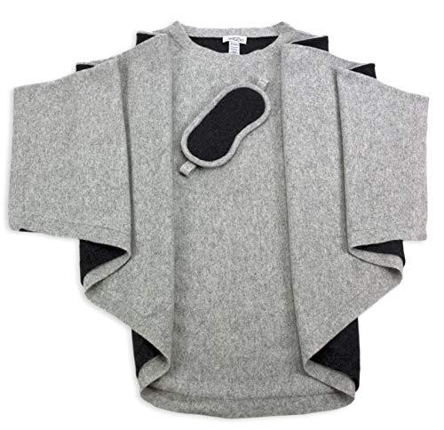 Jet&Bo 100% Pure Cashmere Poncho & Eye Mask Travel Set Gray in Gift Box