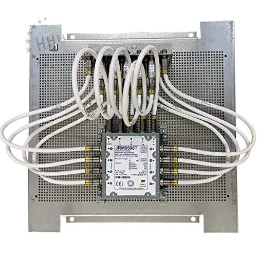 Anschlussfertige Sat-Verteilung mit Multischalter Jultec JRM0508T - fix und fertig vormontiert auf Montageplatte 40x40 cm