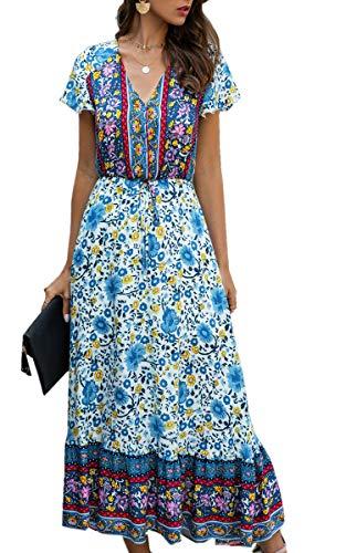 Angashion Women Dresses-Summer Casual Short Sleeve High Waist V Neck Floral Print Button Up Maxi Dress 190Blue L