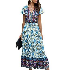 Angashion Women Dresses-Summer Casual Short Sleeve High Waist V Neck Floral Print Button Up Maxi Dress