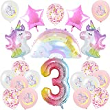 Nesloonp Unicornio Fiesta Decoración, Unicornio Decoración de Cumpleaños 3 Años Globo de Unicornio 3D Cumpleaños Foil Globo Número 3 Rosa Latex Globos para Decoracion de Fiesta de Cumpleaños Niña