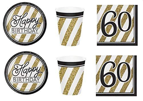 Party Store web by casa dolce casa Festa Compleanno 60 Anni Black & Gold Coordinato ADDOBBI TAVOLA Festa,Compleanno 60 Anni,Evento Nero E Oro Kit n°2 CDC-(16 Piatti,16 Bicchieri,16 TOVAGLIOLI)