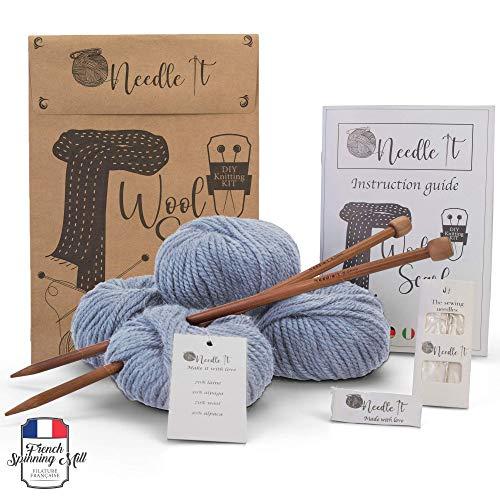Needle It - Komplettes Strickset für Anfänger mit Stricknadeln - Strickschal aus Wolle - Geschenkidee (Himmelblau)