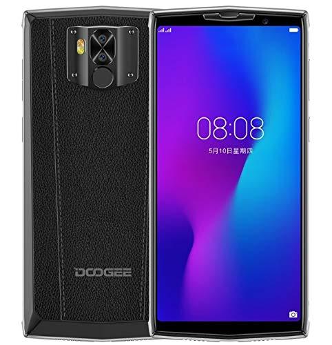 DOOGEE N100 10000mAh Akku Smartphone ohne Vertrag, drahtlose Aufladung unterstützt, 5,99 Zoll FHD + Handy Android 9.0, 21MP+8MP Dual-Rückfahrkamera, Helio P23 Octa Core 4GB+64GB, GPS NFC, Leder-Design