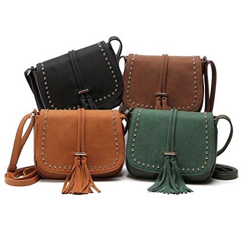 Goatter Pu Material Girls Sling Bag Green Color