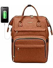Zaino porta PC Donna 15.6 pollici, LOVEVOOK Zaino Laptop Impermeabile, Elegante Zaino Computer con porta USB, per Universita Viaggi Lavoro Scuola Ufficio, Arancione