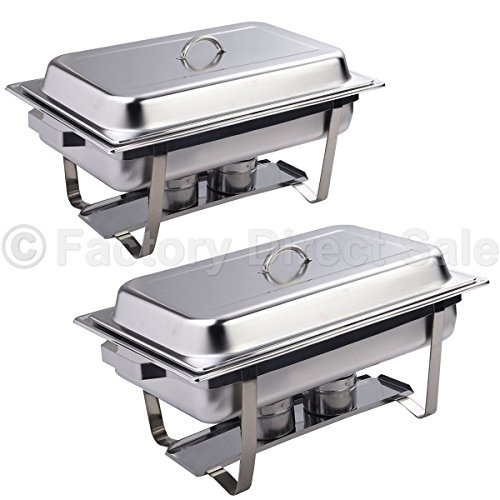 DPThouse 2 Pack Rectangular Chafing Dish Stainless Steel Full Size 9 Quart, Silver