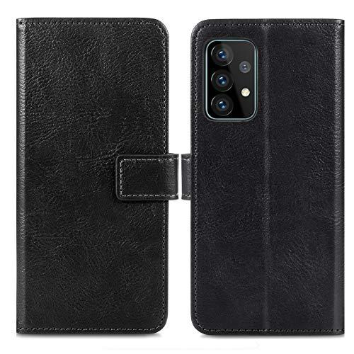 iMoshion kompatibel mit Samsung Galaxy A72 Hülle – Luxuriöse Handyhülle – Handytasche in Schwarz [Mit Ständer, Platz für 3 Karten, Magnetverschluss]