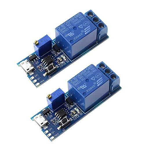 HiLetgo 2pcs Trigger Time Delay Switch Relay Module Adjustable Time Delay Control Swtich Trigger Delay Conduction Relay Switch Module Wide Voltage Delay Relay DC 5V-30V Micro USB Power