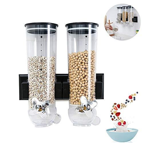 XGG Praktischer Müslispender Cornflakesspender Cerealien Trockenlebensmittel Spender Dreifachspender mit Wandhalterung, für Müsli, Cornflakes und CerealienB