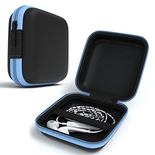 EAZY CASE Universal Tasche für In-Ear Kopfhörer mit Netzfach - Hardcase Aufbewahrungsbox, Schutztasche mit umlaufenden Reißverschluss, extra klein, eckig, Hellblau
