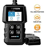 TT TOPDON OBD2 Scanner Code Reader AL300, OBDII Scan Tool with Full OBD2 Functions to Turn Off Check Engine Light, Help Smog Test, with Mode 6, Mode 8, for Cars After 1996, DIYers, Home Mechanics