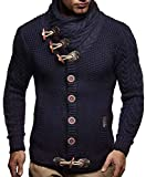 leif nelson giacca uomo in maglia cardigan collo a scialle ln-4195 blu scuro small