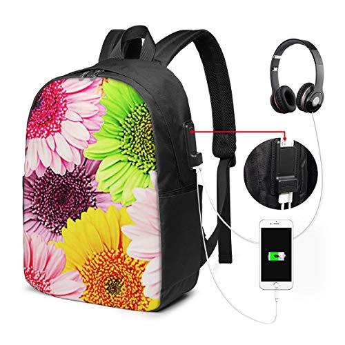 Zaino Antifurto Con Porta USB, Gerbera Flower Blossom Zaino per PC Computer Portatile 17 Pollici, Zaino per Laptop Da Uomo Donna per Scuola, Business, Viaggio