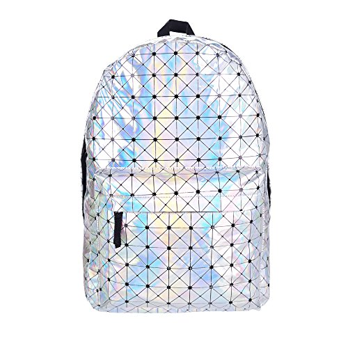 Women's Girls Hologram Backpack Gym Travel School Rucksack Holographic Luggage Fashion Bag College (H41 - W30 - D15cm, Holographic Triangle)