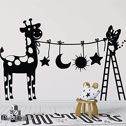LLLYZZ Mooie katten en Vieh Muurtattoo Vinyl afneembare kinderkamer Muurtattoo Leuke katten met ladder Muursticker Kinderkamer Home Decor 57 * 87cm