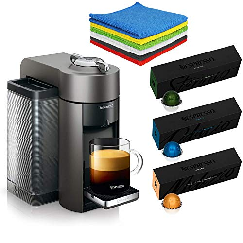 Nestle Nespresso Vertuo Coffee and Espresso Machine by De'Longhi with 30 Capsules Coffees (10 Stormio,10 Odacio,10 Melozio)- Family Christmas Holiday Bundle for Home or Office - BROAGE Cleaning Cloths,Grey