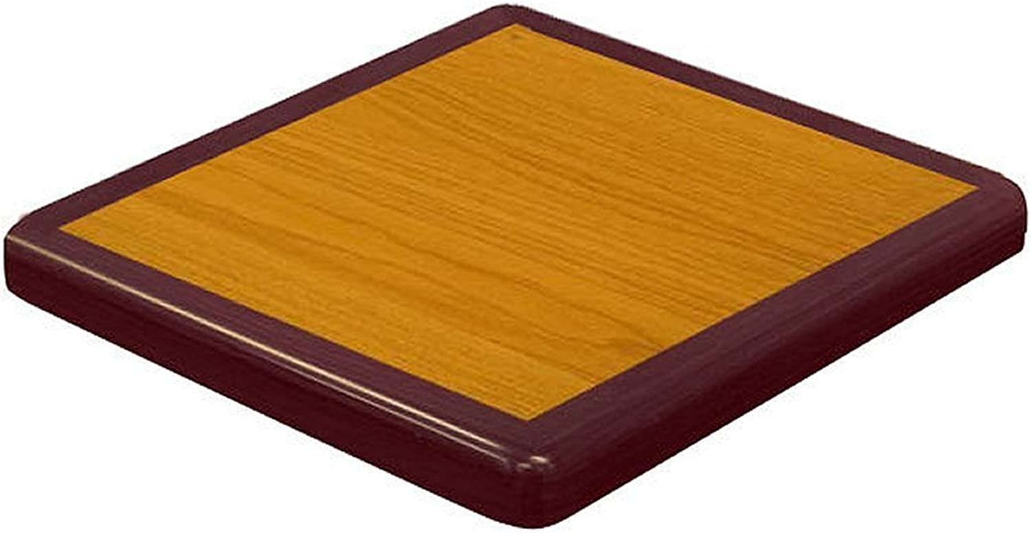American Tables & Seating ATR3636CM Resin Super-Gloss Tabletop, 36  x 36  x 2  Eased Corners, Two Tone Cherry Mahogany