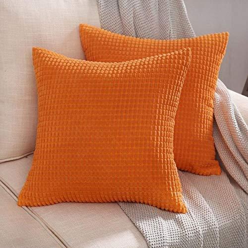 LEIXNDPLBO 1 ST Zachte Soild Decoratieve Vierkante Sierkussen Covers Mooie Korrel Set Kussenhoes Comfortabel voor Sofa Slaapkamer, Pompoen, 40X40CM
