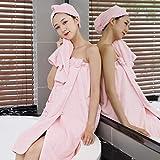 IAMZHL Conjunto de Toallas de baño de Terciopelo Coralino Salón de Belleza Falda de baño con Lazo Superior de Tubo Microfibra más Gruesa Absorbente Grasa Fina Puede Usar-Pink 4pcs set-80x140cm