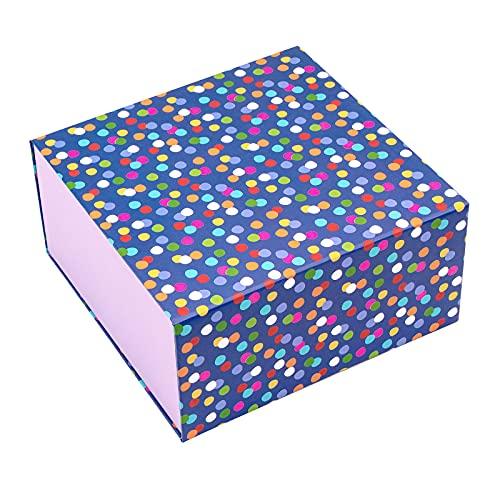 Holijolly De Regalo Con Tapa - Caja De Regalo Con Diseño De Lunares Coloridos, Caja De Regalo Plegable Con Cierre Magnético Y 2 Piezas De Papel De Seda Para Cumpleaños, Boda, Fiesta - 20x20x10cm